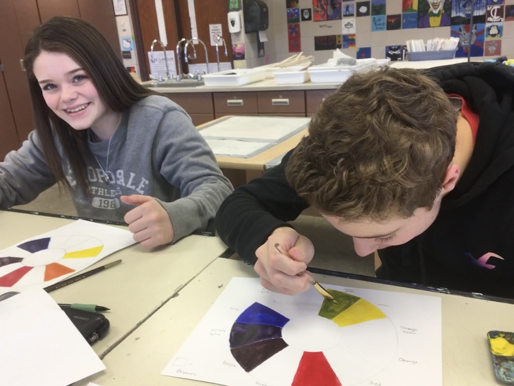 students working on the color wheel