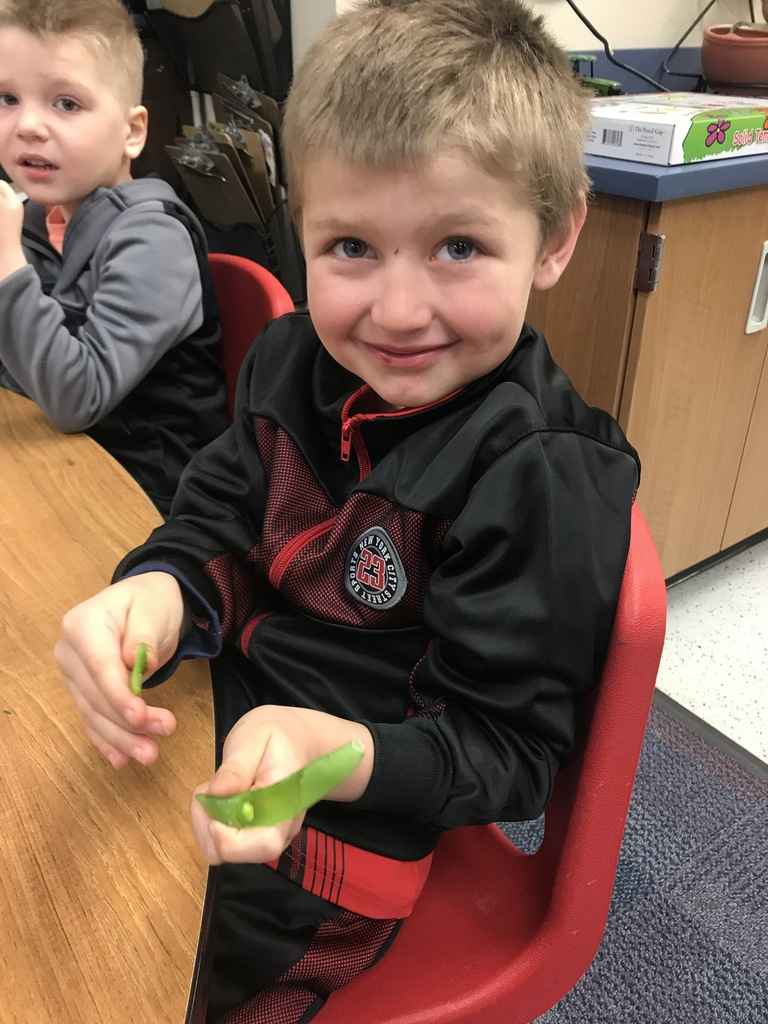 a male student eating snap peas