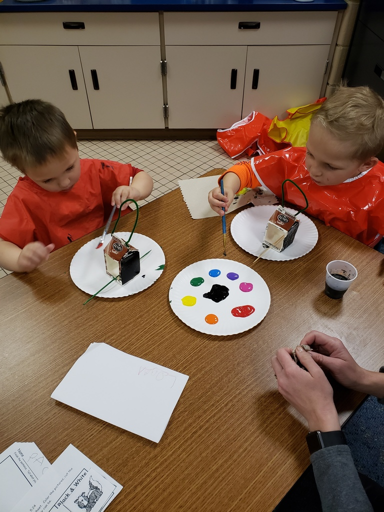 male students painting