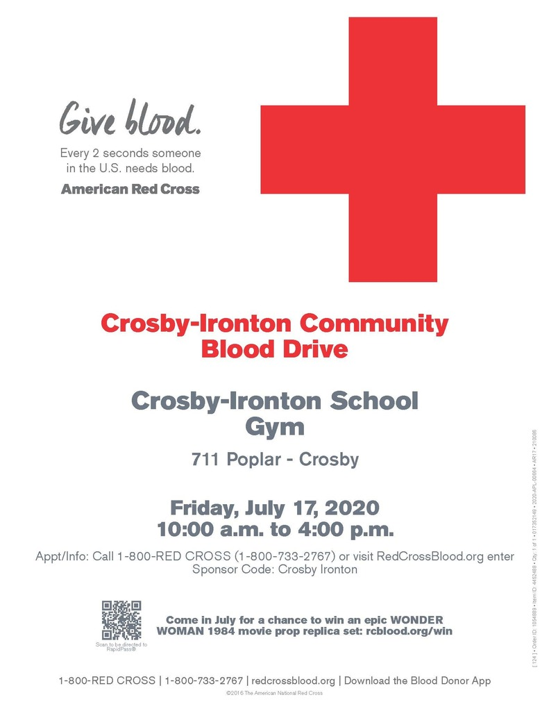poster with blood drive info for 7/17