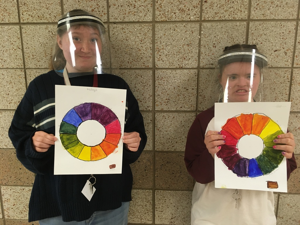 two female students with the color wheel